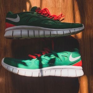 Green and Pink Nike Free Runs